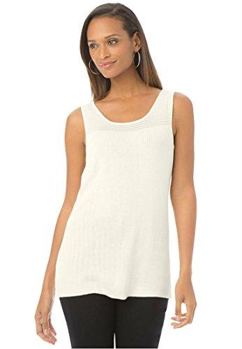 Jessica London Womens Plus Size Decorative Stitch Sleeveless Top Ivory,30/32