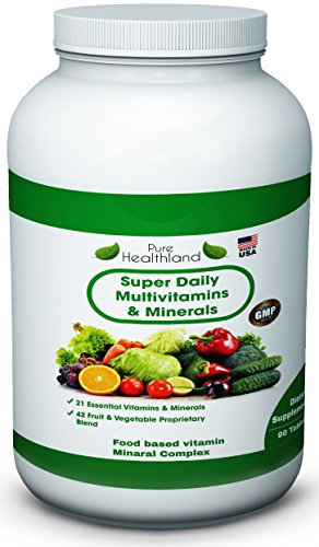 Pure Healthland Premium Super Daily Multivitamins Supplement - 21 Essential Vitamins And Minerals Plus Proprietary Blend Of 42 Fruit And Vegetable Super Foods With Essential Antioxidants. Maintain Strong Bones. Support Energy Production. Proudly Made In U