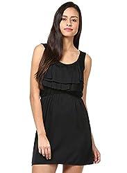 Grain Black Polyester A-line Short dress for women