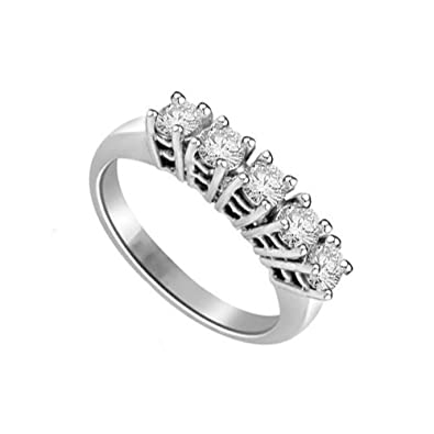 0.60ct H/SI1 Diamond Half Eternity Ring for Women with Round Brilliant cut diamonds in 18ct White Gold