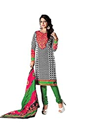 RUDRA FASHION WOMEN'S BLACK & GREEN COTTON SALWAR SUIT DRESS MATERIAL WITH COTTON DUPATTA.DS-2115