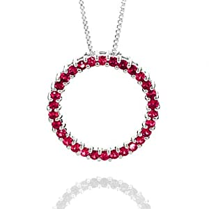 Sterling Silver Ruby Circle Pendant with 18 inch Chain