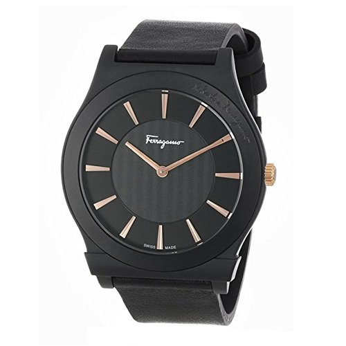 "Salvatore Ferragamo Men's FQ3020013 ""1898"" Ceramic Watch with Black Leather Band image"
