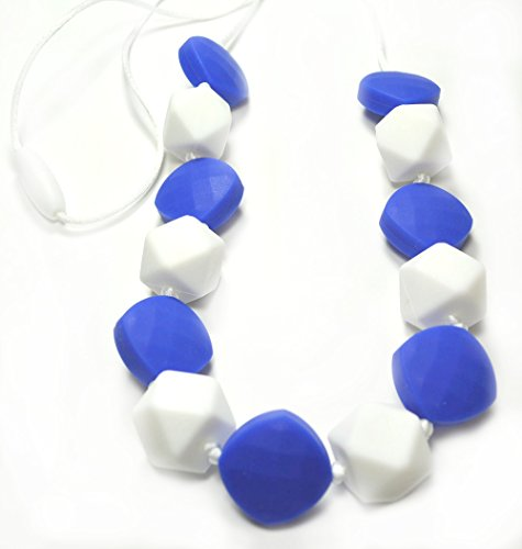 "Silli Me Jewels: ""Chillin"" - Teething Necklace with Blue and White Beads for Mom to Wear and Baby to Chew"