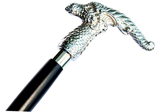 Walking stick top aluminium Dragonsthorne Nebula Dragon Gothic Halloween Walking Stick silver finish (silver)