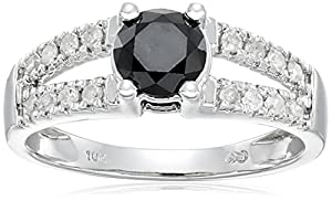 10k White Gold Split Shank Black and White Diamond Ring (1 cttw), Size 8