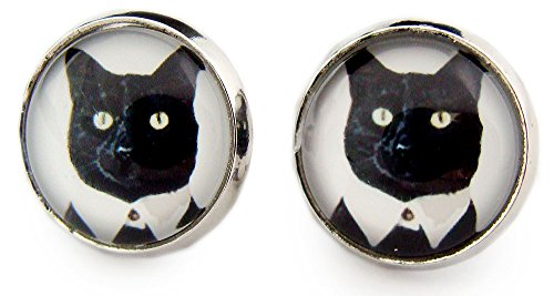 Miss Lovie orecchini da donna con gatto nero Mr, Cat Cabochon 12 mm orecchini argento