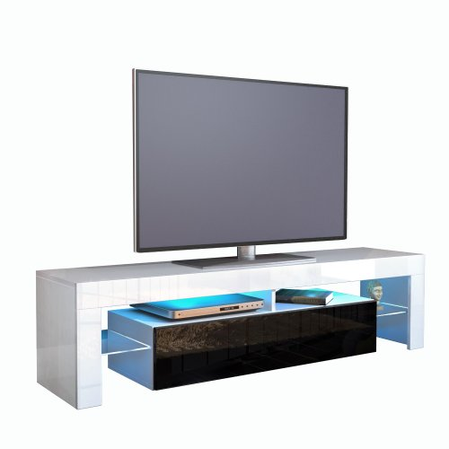 TV Stand Unit Lima in White / Black High Gloss Black Friday & Cyber Monday 2014