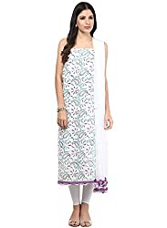 Nandini's White Lucknawi Chikan Flowy Cotton Hand Embroidered Dress Material/ Unstitched Salwaar Kameez with Pure Chiffon Dupatta by SHENARO Lifestyle