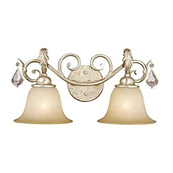 Vanity Lights Usa : Vaxcel USA NCVLD002GW 2 Light Bathroom Vanity Lighting Fixture in White, Glass, Crystal - Wall ...