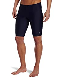TYR Sport Men's Solid Jammer Swim Suit,Navy,32