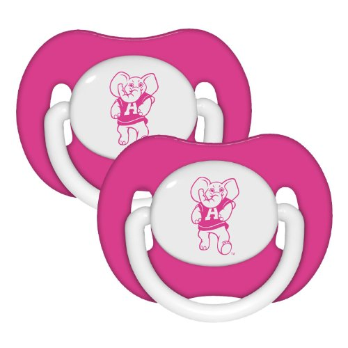 Alabama Crimson Tide 2-pack Pink Infant Pacifier Set - NCAA Baby Bama Girl Pacifiers