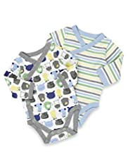 2 Pack Pure Cotton Dog & Stripe Print Bodysuits