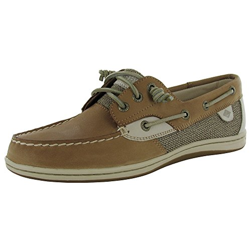 Sperry Top-Sider Women's Songfish Core Boat Shoe,Linen/Oat Leather/Textile,US 10