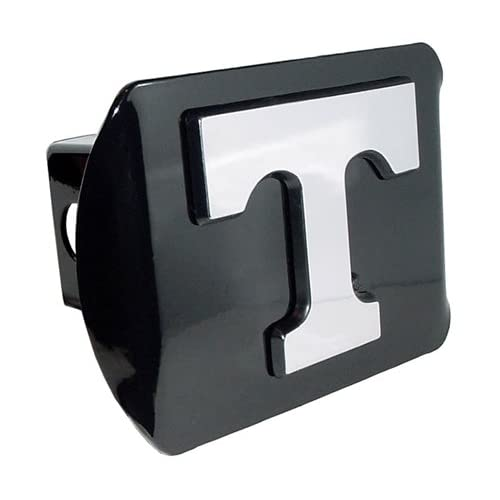 Tennessee Volunteers Black Metal Trailer Hitch Cover with Chrome Metal Logo (For 2 Receivers)