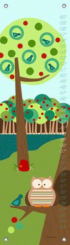 Oopsy Daisy Branch Buddies Teal by Jen Christopher Growth Charts, 12 by 42-Inch