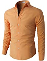 H2H Mens Oxford Cotton Slim Fit Dress Button-down Shirts Long Sleeve