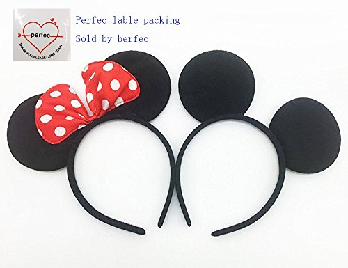 Perfec-Mickey-Mouse-Ears-Solid-Black-and-Bow-Minnie-Headband-for-Boys-and-Girls-Birthday-Party-or-Celebrations-Set-of-2