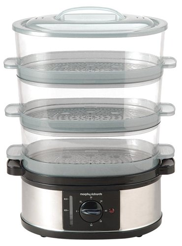 Morphy Richards 48755 3 Tier Food Steamer, Stainless Steel