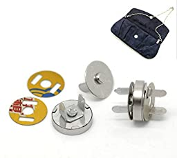 Housweety 20 Sets Silver Tone Magnetic Purse Snap Clasps/ Closure Purse Handbag 14mm Dia