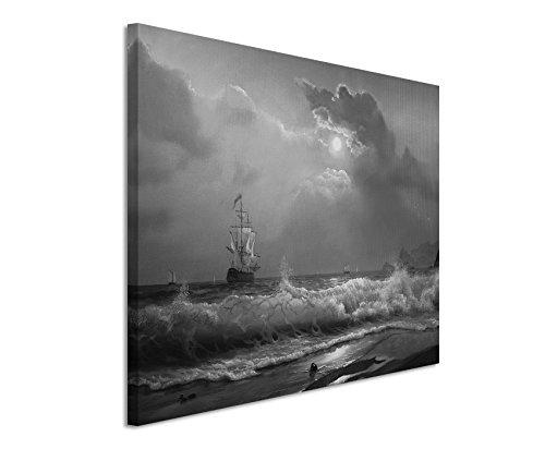50x70cm Leinwandbild schwarz weiß in Topqualität Ölgemälde SeSchwarz Weissoot Wellen