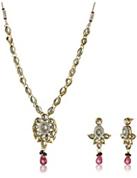 Aheli Traditional Strand Necklace Set For Women (Golden) (A3N5)