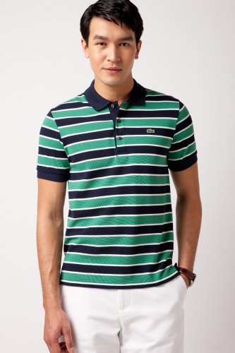Short Sleeve Multi-stripe Pique Polo