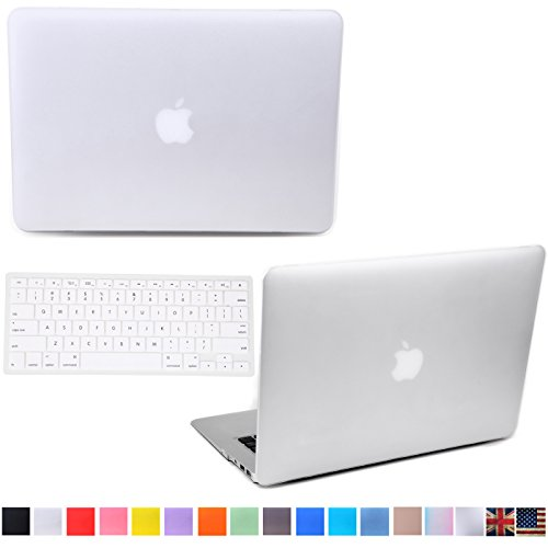 """HDE Matte Hard Shell Clip Snap-on Case + Matching Keyboard Skin for MacBook Pro 13"""" with Retina Display - Fits Model A1425 / A1502 (White)"""