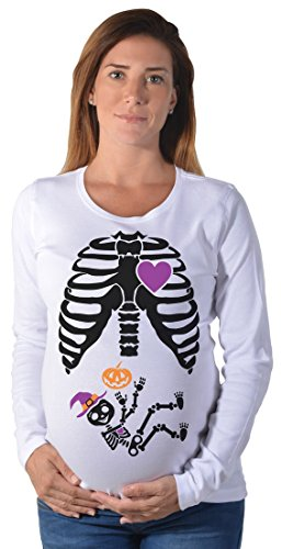 Halloween Pregnant Black Skeleton Xray Costume Cute Maternity Long Sleeve Shirt