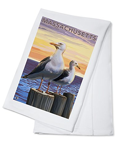 Massachusetts - Sea Gulls Scene (100% Cotton Kitchen Towel)