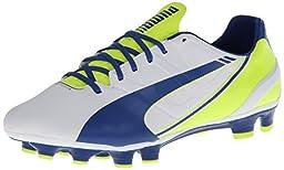 PUMA Women\'s Evo Speed 3.3 Firm Ground Soccer Shoe,White/Snorkel Blue/Fluorescent Yellow,5.5 B US
