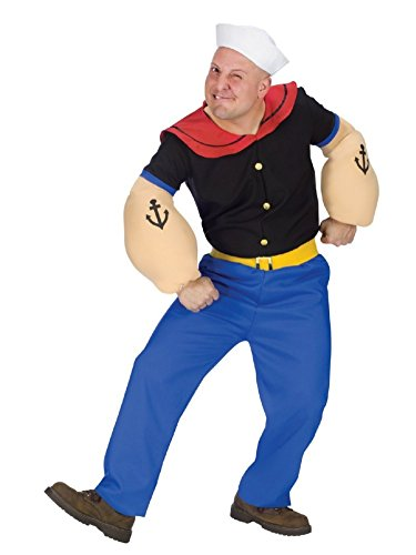 Fun World Mens Popeye the Sailor Man Costume with Muscle Arms