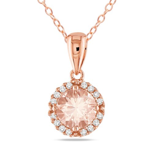 Pink Silver 4/5 CT TGW Morganite 1/10 CT TDW Diamond Fashion Pendant (H-I, I3)