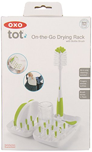 OXO Tot On-the-Go Travel Drying Rack with Bottle Brush- Green