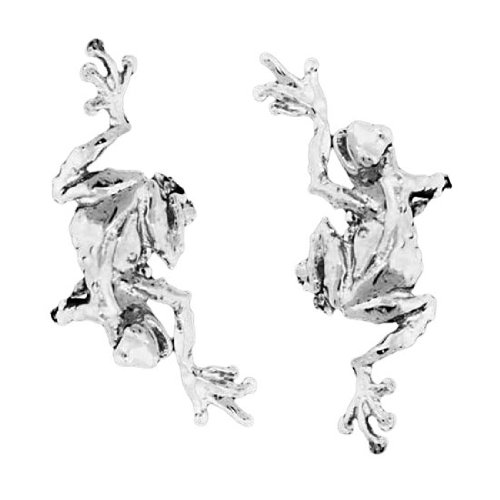 Sterling Silver Left And Right Climbing Tree Frog Ear Cuff Set