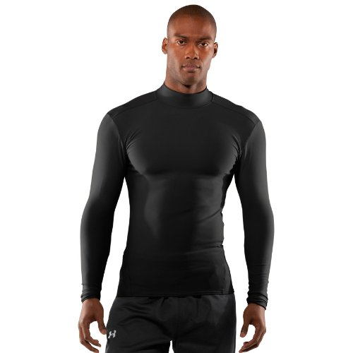Men's Tactical ColdGear® Longsleeve Compression Mock Tops by Under Armour Large Black