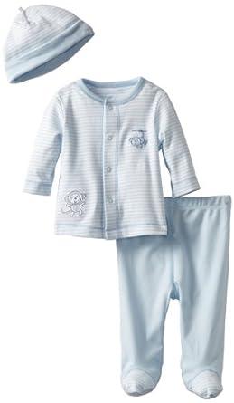Little Me Baby-Boys Newborn Monkey Play Tmh Pant Set, White/Light Blue, 9 Months