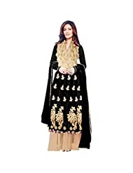 Black Net Designer Party Wear Anarkali Suit Semi Stitched
