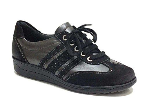 Sneakers ara in pelle e nabuk nero piombo per donna (Taglia 37)
