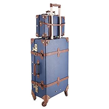 "CO-Z Premium Vintage Luggage Set 24"" TSA Locks Wheel Suitcase with 12"" Hand Bag"