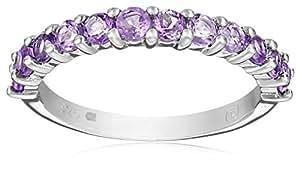 Sterling Silver Amethyst Semi-Eternity Ring, Size 7