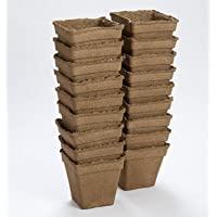 Biodegradable Transplantable Seed Starting CowPot 5 Inches Square D7005 (Brown) 18 Eco-Friendly Pots by David's Garden Seeds (pv)