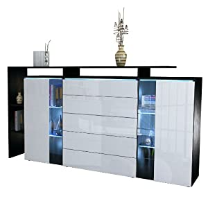 highboard sideboard lissabon in schwarz wei hochglanz k che haushalt. Black Bedroom Furniture Sets. Home Design Ideas
