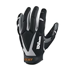 Wilson Adult GST Big Skill Receivers Gloves, Grey Black, XX-Large by Wilson