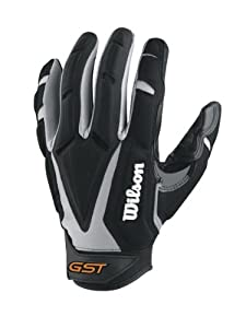 Wilson Adult GST Big Skill Receivers Gloves, Grey Black, Large by Wilson