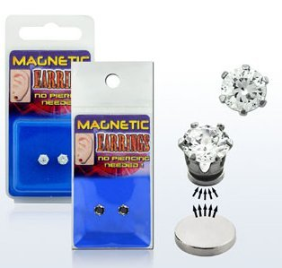 Pair of Magnetic Stainless Steel Clear Cubic Zirconia Round Classic Gem Stud Earrings - Size: Medium (5mm)