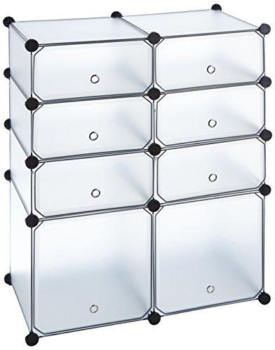 Regal-Schrank-Steckregal-Badregal-Kleiderschrank-Kinderregal-Kommode-in-Wei-Transparent-mit-8-Fchern-95-cm-Hhe
