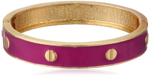 Magenta Enamel with Stud Accent Hinged Bangle Bracelet, 8.5
