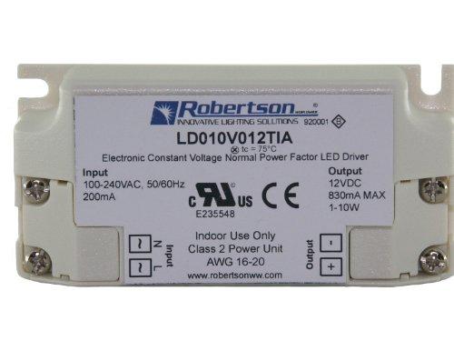 Robertson 3P30015 Ld010V012Tia Led Driver, 1-10 Watt, 100-240Vac Input, 40-830 Ma Constant Voltage, 12Vdc Output, Normal Power Factor, (Formerly Ldpn2010V12Ivt)