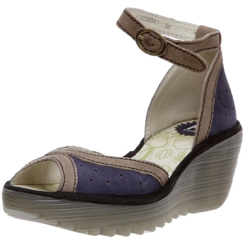 Fly London Women's Yoda Wedge Sandal Leather Deep Blue/Sludge/Black P500030041 8 UK